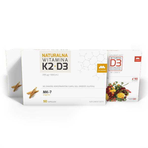 Dwupak Witamina K2+D3 + Witamina D3